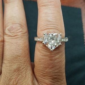 Heart shaped cz engagement ring.